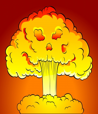 Nuclear explosion with skull cloud. Vector illustration Stock Vector - 22472380