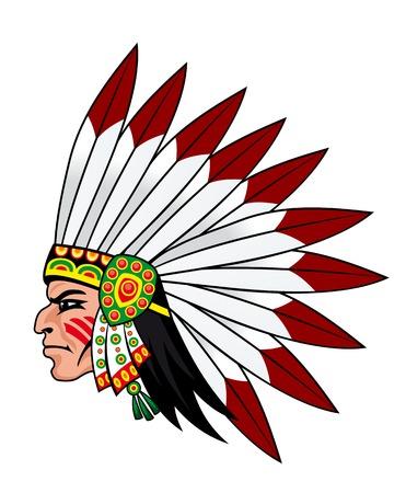 native indian: Nativos pueblos indios con plumas en la cabeza de la mascota y emblemas Vectores