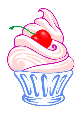Sweet cream dessert with cherry. Vector illustration Illustration
