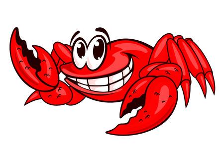 cangrejo caricatura: Sonriendo cangrejo de mar rojo con garras. Ilustración vectorial Vectores