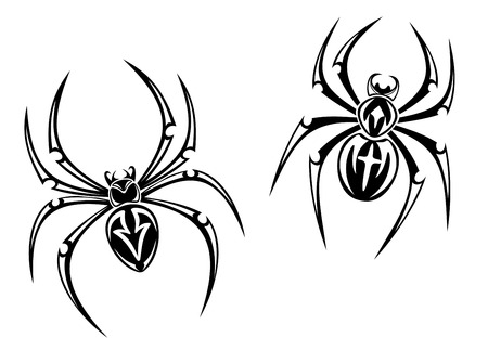 widow: black danger spiders isolated on white background for tattoo. Vector illustration