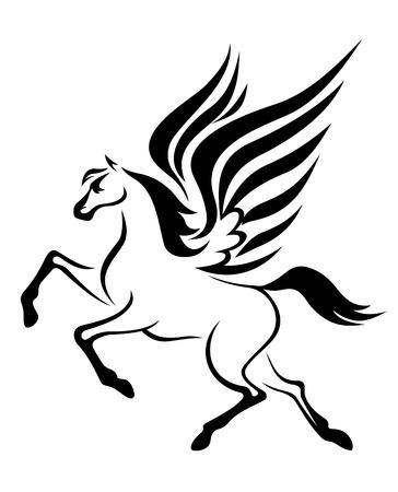 pegaso: negro caballo Pegaso con las alas. Ilustración vectorial