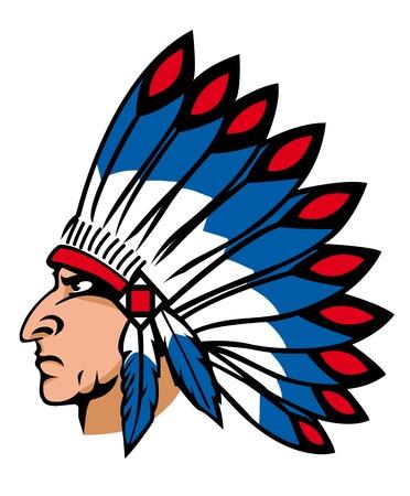 native indian: Nativos pueblos indios con plumas de colores para la mascota y emblemas