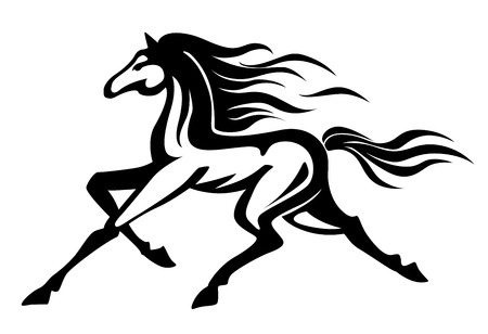 running: Beautiful gallop running black horse. Vector illustration