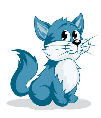 Funny cartoon kitten for fairytale design. Vector illustration Vector