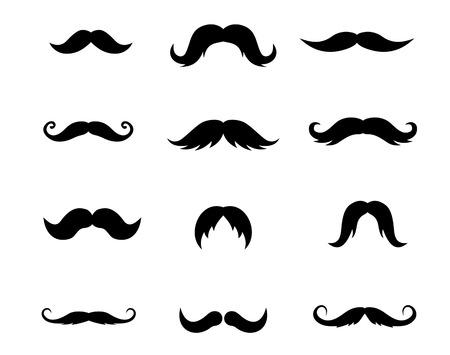 bigote: Conjunto de bigotes aisladas sobre fondo blanco. Ilustraci�n vectorial