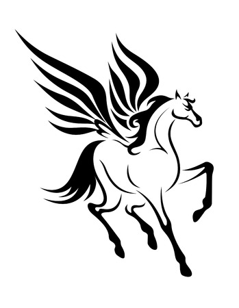 Black pegasus horse with wings for tattoo. Vector illustration Illustration