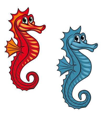 horsefish: Caballito de mar bajo el agua Funny or hipocampo. Ilustraci�n vectorial