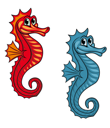 Funny underwater seahorse or hippocampus. Vector illustration Vector