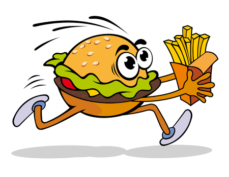 Fast food cartoon hamburger with potato. Vector illustration