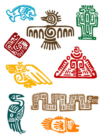 indio americano: Monstruos maya antiguo juego de diseño religioso. Vector illustatin