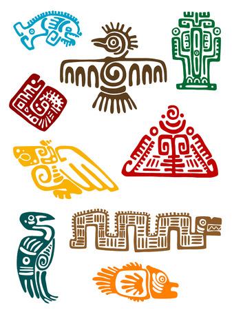 cultura maya: Monstruos maya antiguo juego de dise�o religioso. Vector illustatin