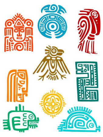 cultura maya: Elementos de los antiguos mayas y símbolos conjunto de diseño religioso. Vector illustation Vectores