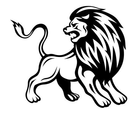 agression: Lion en col�re dans un style h�raldique. Vector illustration