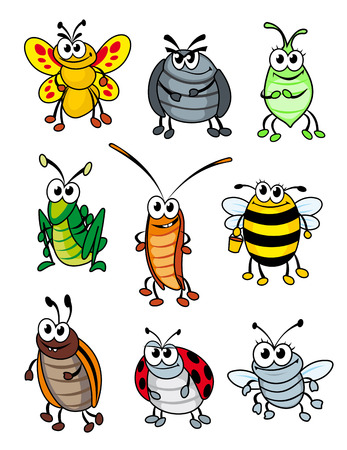 Set of doodle cartoon insects. Vector illustration Ilustração