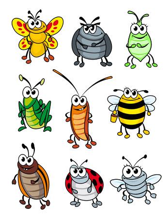 Set van doodle cartoon insecten. Vector illustratie Stock Illustratie