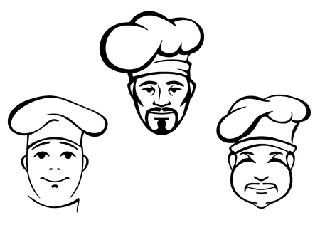 Restaurant chefs set in hat. Vector illustration Vector