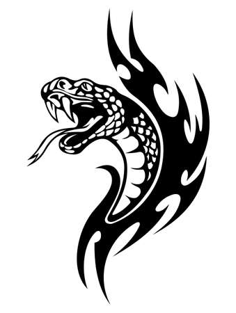 serpent � sonnette: tatouage de serpent avec des flammes noires. Vector illustration Illustration