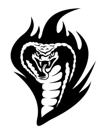 Cobra tattoo in tribal style with black flames. Vector illustration Vector