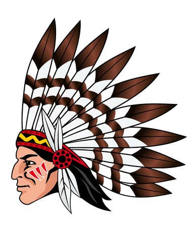 Native american people with feathers on the head for mascot and emblems