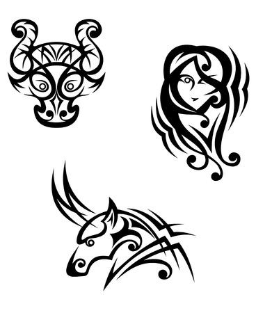 capricornio: Tauro, Virgo y Capricornio símbolos zodiacales en el estilo tribal Vectores