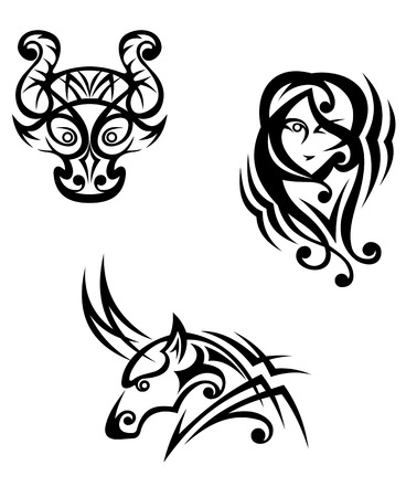 Taurus, virgo and capricorn zodiacal symbols in tribal style Vector