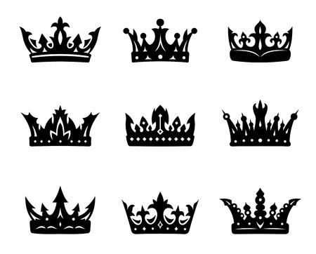 corona reina: Ajusta Negro heráldico coronas reales. Ilustración vectorial