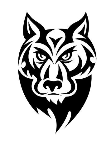 horrific: Wild wolf head for mascot or tattoo. Vector illustration Illustration