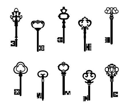Old antique keys in vintage style. Vector illustration