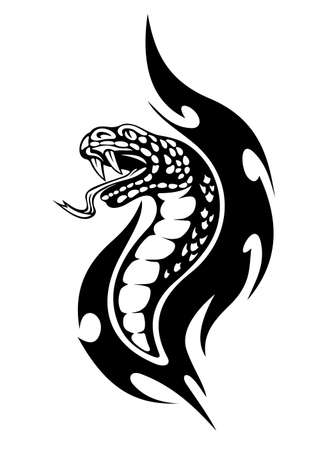 viper: Viper tattoo with black flames. Vector illustration