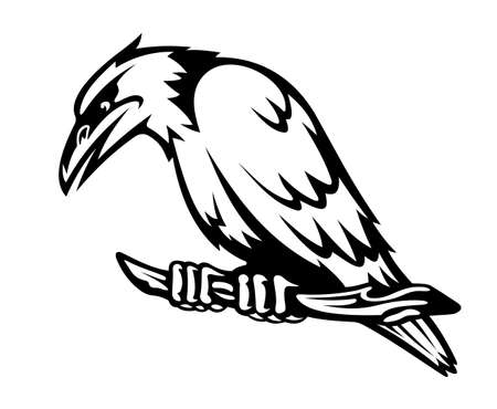 Wild raven on the branch. Vector illustration