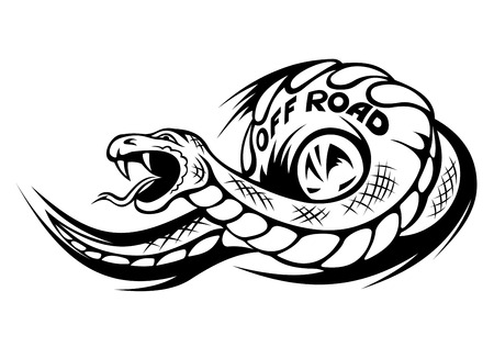 Danger snake for offroad mascot or tattoo. Vector illustration Vector