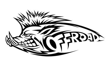 wild hair: Cinghiale per emblema offroad o mascotte Vettoriali