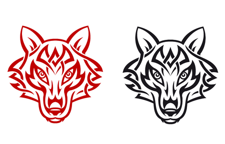 savage: Wild wolf for tribal tattoo. Vector illustration