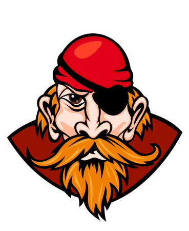 captain hat: Head of danger pirate in cartoon style. Vector illustration