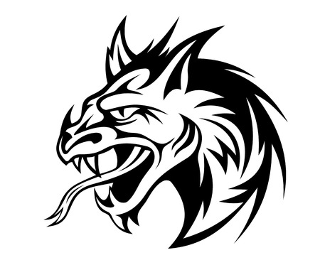 Angry black dragon in tribal style. Vector illustration Illustration