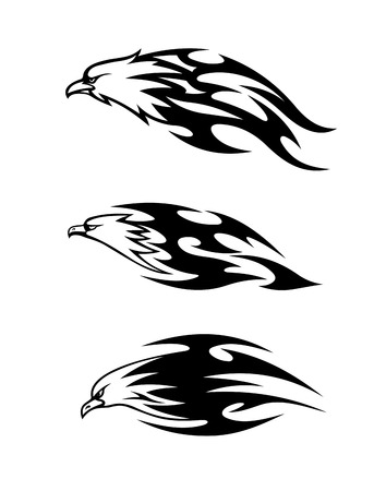 prey: Eagle tattoos with black flames. Vector illustration