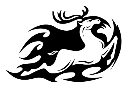 animals horned: Tribal deer symbol for mascot. Vector illustration