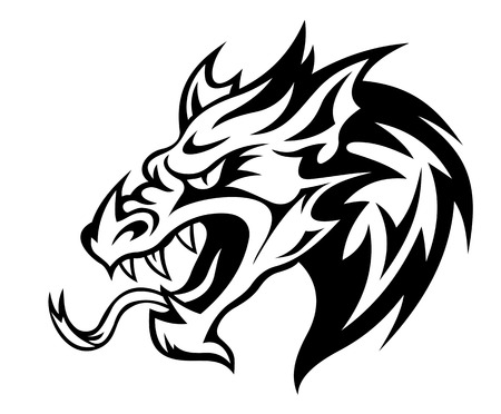 fierce: Danger dragon head for tattoo. Vector illustration