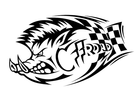 wild hog: Offroad danger boar for tattoo. Vector illustration Illustration