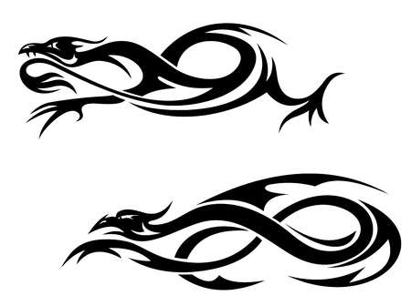 eastern zodiac: Tribal black dragons and monsters for tattoo. Vector illustration