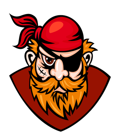 Head of danger buccaneer in cartoon style. Vector illustration Vector