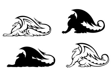 drago alato: Grifoni araldici impostato per il design. Vector illustration Vettoriali