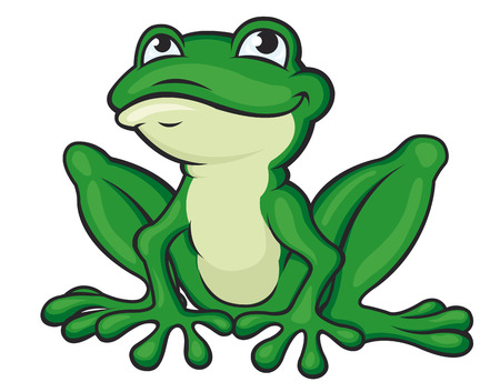 rana caricatura: Dibujos animados rana verde aislado en blanco. Ilustración vectorial