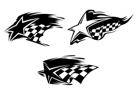 checker flag: Set of racing symbols for sports design. Vector illustration