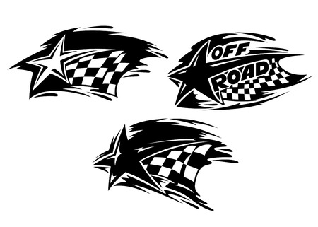 checker: Racing stars with checkered flags. Vector illustration