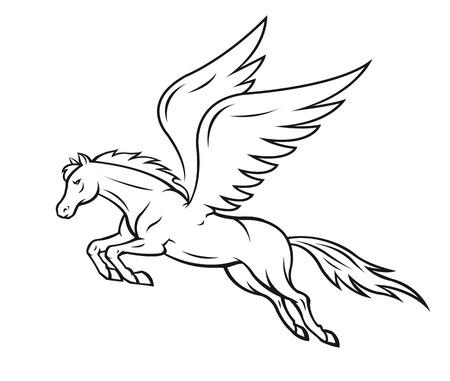 Biały pegaz koń ze skrzydłami. Ilustracja wektorowa