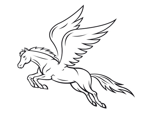 White pegasus horse with wings. Vector illustration Çizim