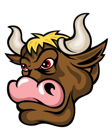 horn: Danger brown bull in cartoon style. Vector illustration