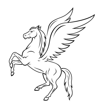 Blanco pegaso caballo con alas. Ilustración vectorial Ilustración de vector